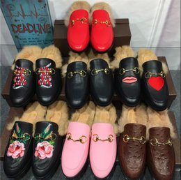 Wholesale Real Nest - Real Leather Lady Slippers Plush Women Nest Shape Cozy Fur Slippers Flat Shoes Black Name Brand Loafers Big Size 40 Casual Shoe Woman