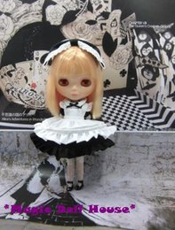 Wholesale Girls One Set Retail - SOLD OUT [RMG006-A]2017 NEW Free Shipping Blythe Doll Dress # Black Alice in wonderland dress set for neoblythe doll outfits for Retail