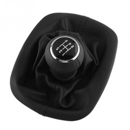 Wholesale Gear Shift Passat - PU leather 5 Speed Gear Shift Knob Cover Black For VW For PASSAT B5 For Volkswagen High Quality Durable