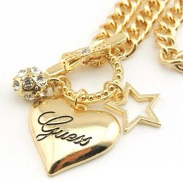 Wholesale Wholesale Rhinestone Horseshoe Charms - Heart Pendants Necklaces Women Alloy Heart Jewelry Gold Silver Heart Charms Pendants Fashion Necklace Jewelry