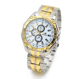 Wholesale Orlando Wristwatch - New Gold Shell ORLANDO Men Wristwatch Three six-pin Business Dress Wristwatch Relojes Men Steel Gold Silver Band Watches