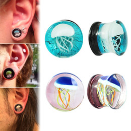 Wholesale Glasses Ear - 1Set=5 Pairs Punk 8-16mm Colorful Jellyfish Glass Ear Plugs Expander Gauges Tunnel Double Flared Ear Piercings Jewelry 2018 New