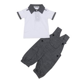 Wholesale Wholesale Boys Pocket T Shirts - INS infant outfits 2017 new summer baby boys cotton lapel short sleeve T-shirt+pocket suspender pants 2pcs sets toddler kids clothes C0340