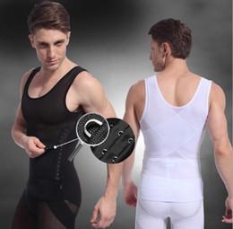 Wholesale Lycra Body For Men - Men slimming shirt Body Shapers abdonmen compression Waist Training Corsets For Men Girdle Belt Reduce Tummy Belly Bust