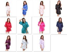Wholesale Purple Onesies - 10pcs 11 colors Ladies womens Solid plain rayon silk short Robe Pajama Lingerie Nightdress Kimono Gown pjs Women Dress elegant M010