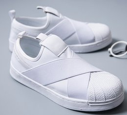 Wholesale Shoes Casual Men Lowest Price - Free shipping Factory Price Summer Y3 Men Women Shell Toe Black White Low Breathable Shoes Superstar Slip On Crossed Strap Casual Shoes