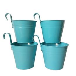 Wholesale Glazed Planters Wholesale - D14.5XH17.5CM blue Metal hanging pot Flower Pot Wall Hook Planter garden Hanging Wedding Tub flower pot