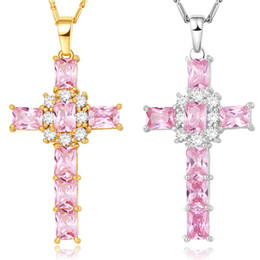Wholesale 18k White Gold Pink - NAKELULU Cross Crystal Necklace Women Jewelry Gift Wholesale Silver Gold Color Luxury Pink Clear Cubic Zirconia Pendant & Chain