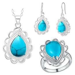 crystal trade Promo Codes - Thick silver jewelry of new fashion lace Turquoise suit the United States and foreign trade wholesale jewelry set