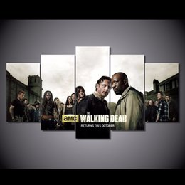 Wholesale Walking Dead Pc - 5 Pcs Set Framed HD Printed The Walking Dead Season Picture Wall Art Canvas Print Decor Poster Canvas Oil Painting