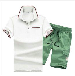 Wholesale Mens Silver Suits - New Arrival Summer Men's Sets Short Sleeve Polos T-shirts Pants Tracksuit Fashion Casual Mens Tops Trousers Teenagers Suit M L 2XL 3XL 4XL