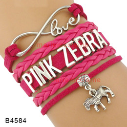 Wholesale Zebra Love - Custom-Infinity Love Pink Zebra Charm Wrap Bracelet Hot Pink Multilayer Leather Cuff Wrist Band Best Gift Jewelry Drop shipping