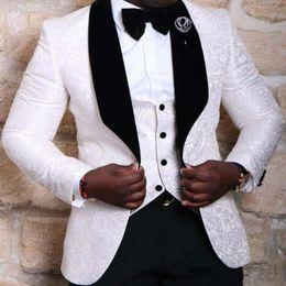 Wholesale Tuxedo Suits Designs - Wholesale- White Pattern Latest Design 2017 Men Suits Costume Made Plus Size Shawl Collar Tuxedos (Jacket+Pant+Vest+Bowtie) Fashion Blazer