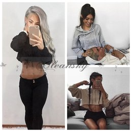Wholesale Cropped Hoodies Wholesale - 3 colors Fashion New Loose Punk Styles Women Girls Casual Long Sleeve Cropped Sports Short Hoodies Pullover Sweatshirts Crop Tops M569
