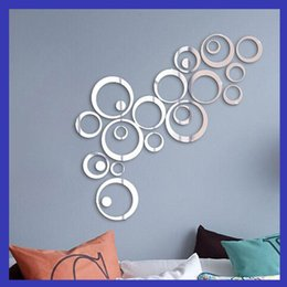 Wholesale Top Ring Lights - Fashion Simplicity Acrylic 3D Mirror Wall Stickers Circle Round Ring DIY Creative Top Quality Wall Decorative Painter Sticker 10rd