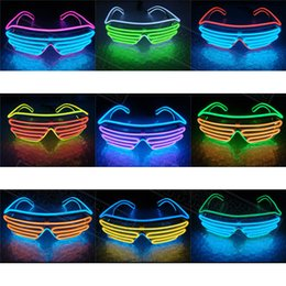 Wholesale Big Sunglasses Kids - Simple EL Glasses Wire Fashion Neon LED Light Up Shutter Shaped Glow Sun Glasses Rave Toy Costume Party DJ Bright SunGlasses With Battery