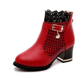 Wholesale Womens Lace Ankle Boots - Womens Boots Autumn 2017 Fashion Lace Hollow Out Ladies Shoes Woman Leather Sexy Ankle Boots For Women Botas Mujer,size35-40