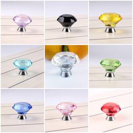 Perillas de diamante online-Tirador transparente de 40 mm Tirador Diamond Crystal Doorknob Glass Cabinet Knob Drawer Tiradores de puerta de cromo pulido para armario 9 Color C76L