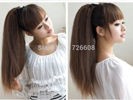 Wholesale Brown Tail - Wholesale- Yaki straight synthetic hair ponytail for black women afro ponytails Hairpieces drawstring wrap around pony tail hair extensions