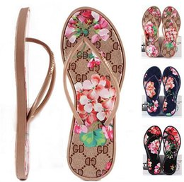Wholesale Flower Flats Shoes - New Women Sandals Summer Fashion Flip Flops Women's Brand Shoes Flowers and Comfortable Outdoor Flat Sandal Beach Slippers