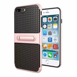 Wholesale Hybrid Iphone Waves - For iPhone 7 Plus 6S Plus 5S Fashinable Design Wave Hybrid Rugged Kickstand Tough Armor Smart Phone Case Rose Gold Silver Pink Cover