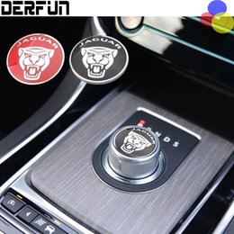Wholesale Aluminium Rings - BLACK or RED Jaguar XF XE XJ F-PACE F PACE Aluminium Gear Shift Knob Ring Cover Decoration Sticker Interior Moldings