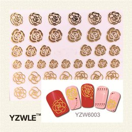 Wholesale Top Selling Decals - Wholesale- YZWLE 1 Sheet 2016 Top Sell Gold Flower Nail Art Decals Beautiful 3D Nail Sticker