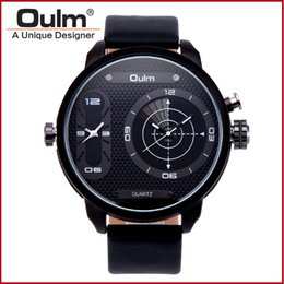 Wholesale Mens Big Case Watches - OULM 3221B Casual Men's Watch Quartz Movement Big Dial Case Analog Dispaly Two Time Zone Leather Strap Fashion Luxury Watches For Mens