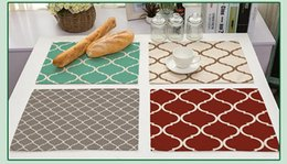 Wholesale Fabric Table Mats - Colorful clovers spliced printed placemat Cotton and linen fabric geometric figure western table pad Kitchen insulation heat mat