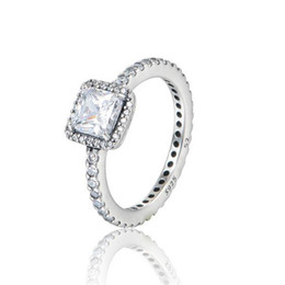 Wholesale Engagement Ring Charms - TIMELESS ELEGANCE silver rings cubic zirconia S925 Sterling Silver fits for pandora style bracelet and charms jewellery Free Shipping