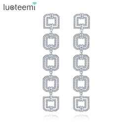 Wholesale Style Connections - LUOTEEMI Elegant Wind Five Double Squares Connection Long Drop Earrings Clear Cubic Zircon Fashion Atmosphere Style Lady Jewelry