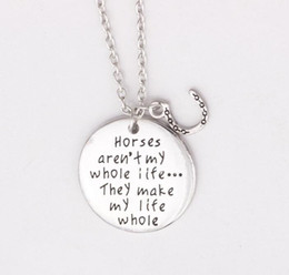 "Wholesale Love Lovers Necklace - New Arrival 12pcs lot New jewelry Horses aren't my whole life ...They make my life whole ""Horses Necklace Horses Lover Charm Pendant Necklac"
