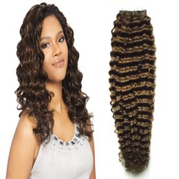 Wholesale Double Drawn Hair Extensions Brown - Brazilian Deep Wave Virgin Hair Skin Weft Tape Hair Extensions 40 pieces 7A 100g Double Drawn Remy Tape Human Hair Extension