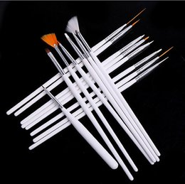 Wholesale False Brushes - 15pcs Professional Acrylic Nail Art Brush Set Design Painting Dotting Pen White Pink Nail Art Brushes Pen for Gel Polish False Nails