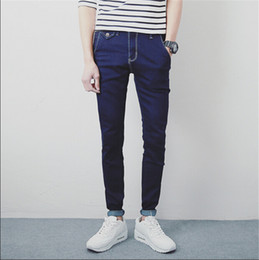 Wholesale Skinny Harem Jeans For Men - Wholesale-Autum 2016 New Men's Modern Harem Jeans Slim Korean Style Pencil Pants For Youth Fashion Pants Plus Size 28-33