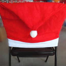 Wholesale Back Chairs - Christmas Decorations Santa Claus Red Hat Chair Back Covers Xmas Gift Dinner Decoration Party Supply Cloth Chair Decorations