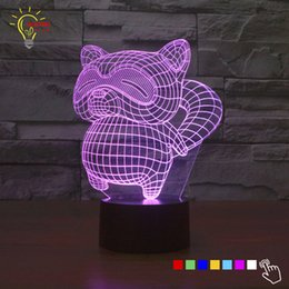 Wholesale Cute Little Lamps - Wholesale- Novelty&Cute! little raccoon bear 3D illusion Led touching night light 7 colors lamp table gift Christmas lights with children