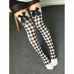 Wholesale Skeleton Pantyhose - Wholesale- Sexy Women Cosplay Striped Knee stockings Japanese Printed Thigh High stockings Halloween Party Women Knee Pantyhose Skeleton