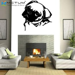 Wholesale Stickers For Walls China - vinyl stickers china PUG DOG WALL ART Sticker Mural Giant Large Decal Vinyl For Home Decoration Free Shipping