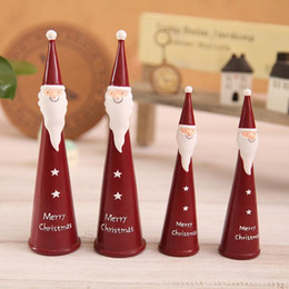 Wholesale Red Figurine - 4Pcs  Lot Christmas Decorations For Home Cartoon Resin Santa Claus Ornaments Creative Christmas Craft Gifts Adornos Navidad 2016