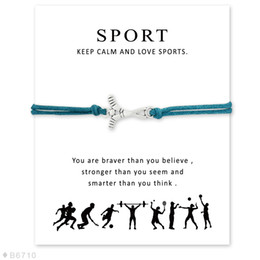 Wholesale Ice Hockey Jewelry - (10 pcs lot)Silver Ice Hockey Sports Charm Bracelets & Bangles for Women Girls Adjustable Friendship Statement Jewelry with Card