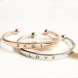 Wholesale gold open cuff bracelet - Forever Love Open Bangle Cuff Bracelet Silver Rose Gold Adjustable Bracelets for Women Lovers Jewelry Gift drop shipping