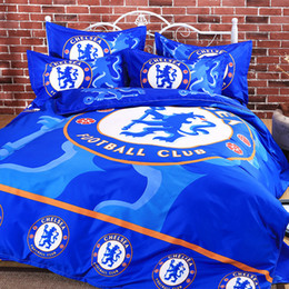 Wholesale Football Beds - Wholesale- popular football children bedding set duvet cover bed sheet pillow cases 3 4pcs queen double full twin size bed linen set