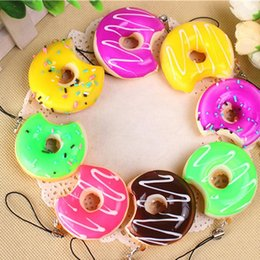 Wholesale Bun Chain - New Kawaii Donuts Mobile Phone Straps Soft Squishy Colorful Slow Rising Squishies Jumbo Buns Cell Phone Chain Cute Straps Kid Present