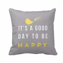 Wholesale New Hotel Knitting - Wholesale- New Yellow Bird Letter Square pillowcase Throw Pillow Cushion Case Cover gray color pillowslip Home ornament drop shipping