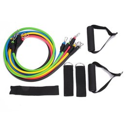 Wholesale Crossfit Resistance Bands Set - 11PCS  Set Stretch Resistance Band Yoga Tension Rope Fitness Workout Crossfit Gym Exercise Tubes with Black Carrying Bag