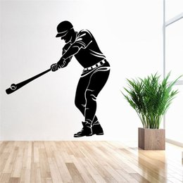 Wholesale Wall Decal Figures - 74x83cm Baseball Sports Man Figure Wall Sticker Removable Art Mural Decal for Home Decoration Children's Bedroom Kids Room