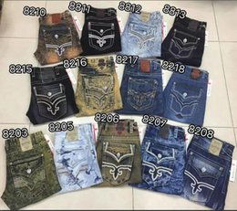 Wholesale hot Men s Robin Rock Revival Jeans Crystal Studs Denim Pants Designer Trousers Men s size Shorts