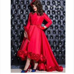 Wholesale Satin Bright Orange Short Dresses - 2017 Elegant Saudi Arabia Prom Dress Bright Red O Neck Hand-made Flowers Long Sleeve Short Front Long Back Hi-lo Prom Dresses