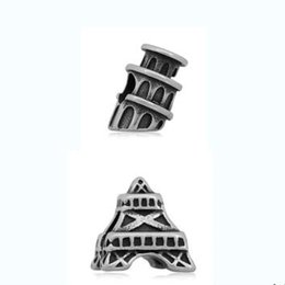 Wholesale pandora eiffel - comejewelry The Leaning Tower of Pisa& Eiffel Tower Fit for Pandora Stainless Steel Beads European Style Big Hole Beads for Jewelry Making